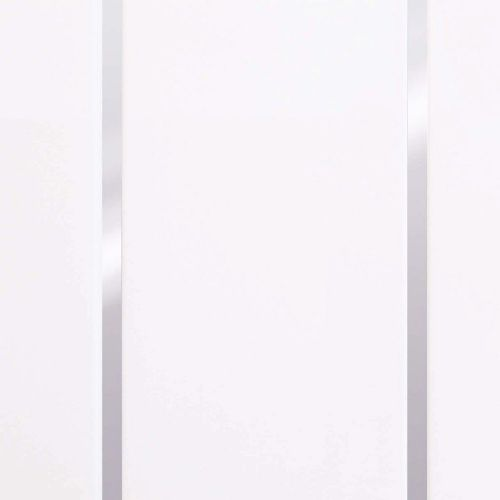 Basix White Gloss Silver Embedded Inset 200mm x 2700mm x 8mm Panelling (Pack Of 4)